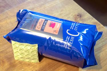 パッケージの一例です。鮮度を大切に、自家焙煎珈琲豆をお届けします。